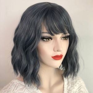 """12"""" Ashy Blue Gray Wavy Wig with Bangs 